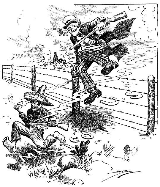 Dobová karikatura z amerického tisku to vystihuje poměrně přesně